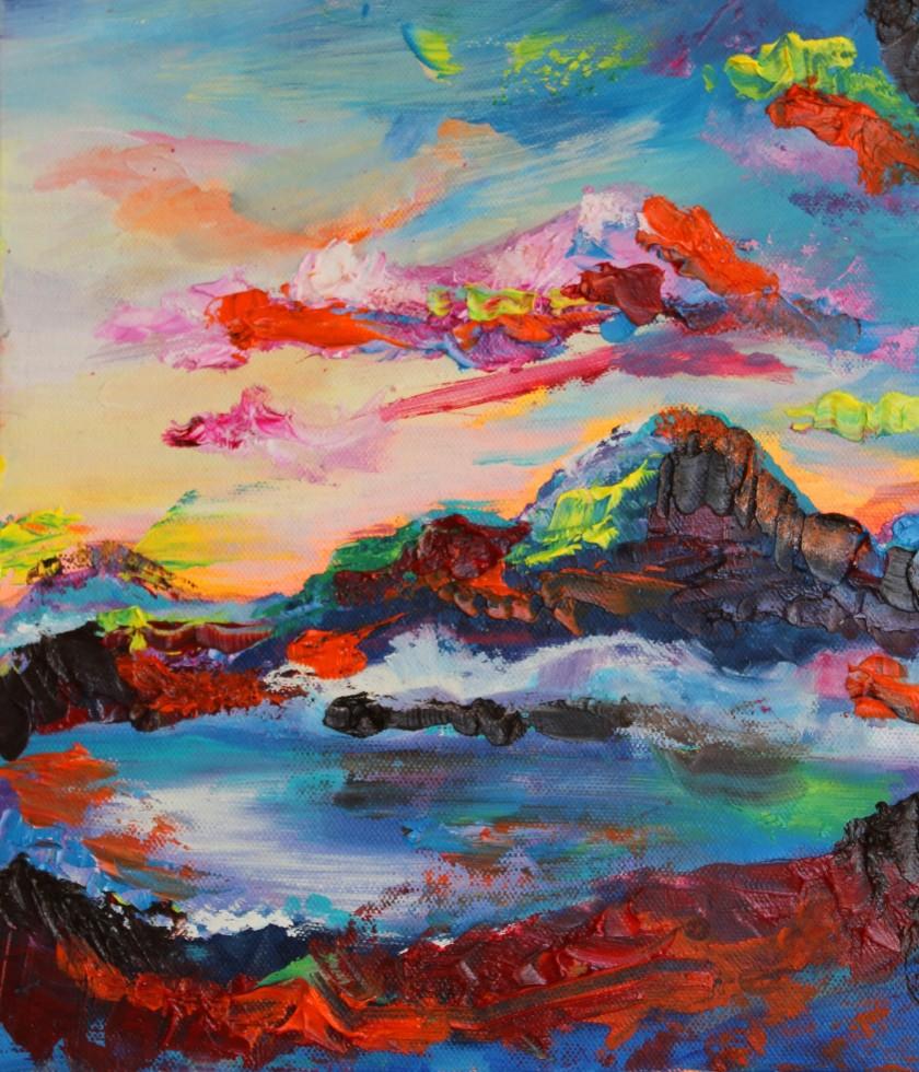 sunrise, emily louise heard art, colourful paintings