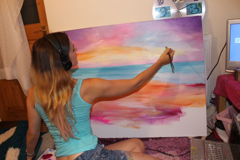 Painting a second layer of acrylic paint- Emily Louise Heard