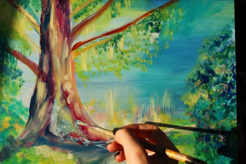 emily louise heard art, secret garden painting, emily heard, secret garden, beautiful art, tree painting, tree by lake, tree and lake painting, landscape art, landscape artist, landscape painting,