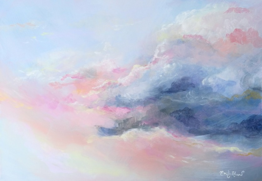 Pastel sky painting by welsh artist Emily Louise Heard