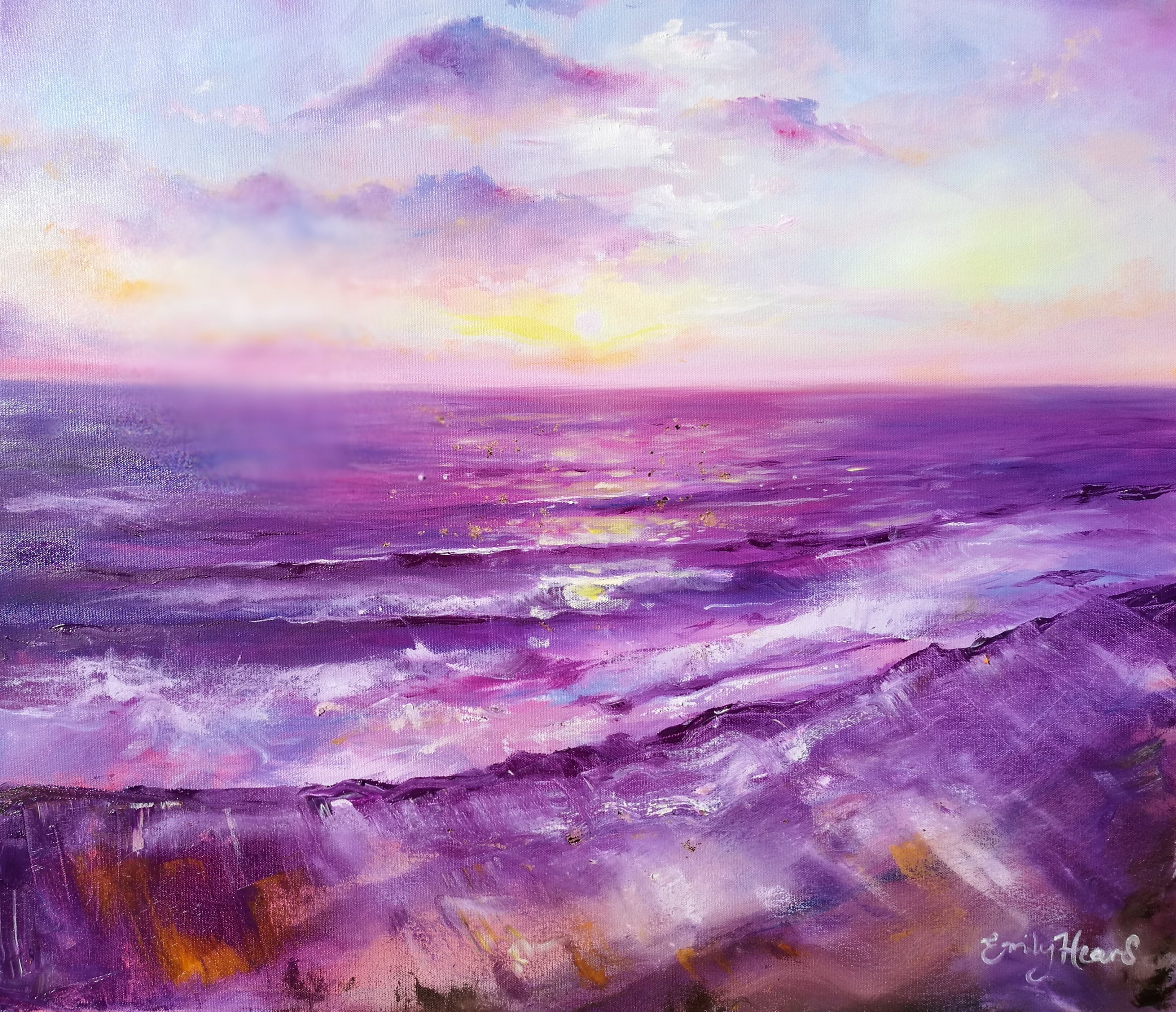 Purple sea painting by Emily Louise Heard