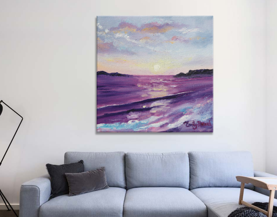 Purple sunset painting print
