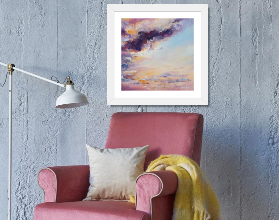 Pink and grey abstract sky painting