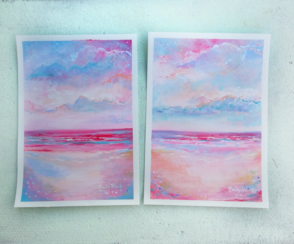 Pink sunset paintings by Emily Louise Heard